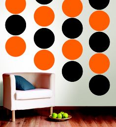 Black & Orange Polka Dot Wall is a perfect Fall Decor Idea from WallPops!