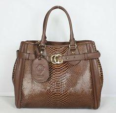 Gucci Snake Veins Handbags 247179-Light Coffee