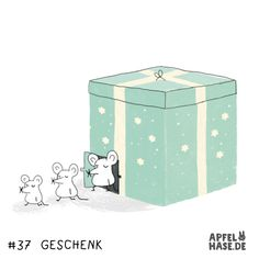 365 doodles: Geschenk/present illustration, draw, drawing, daily, Apfelhase, Geschenk, present, gift, Maus, Mäuse, animals, stars