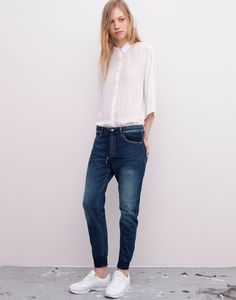 Pull&bear Boyfriend Jeans With Cuffed Hems in Blue | Lyst