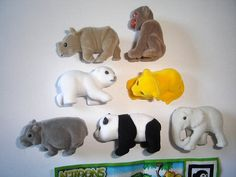 Kinder Surprise Set - Natoons Wild Animals Babys Felt - Complete Series Vintage Figures Figurines Toys Eggs Miniatures Collectibles