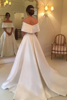Cheap Simple Satin A-line Off the Shoulder Ivory Cheap Bridal Gown, Wedding Dresses on sale – jolilis Simple Wedding Gowns, Modest Wedding Dresses, Cheap Wedding Dress, Bridal Dresses, Gown Wedding, Ivory Wedding, Backless Wedding, Tulle Wedding, Mermaid Wedding
