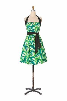 ANTHROPOLOGIE Viola Seedling Halter Dress $118 Women's Size 4 Green Black Smock #Anthropologie #ALine #Casual