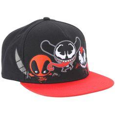Marvel Kawaii Deadpool Venom Carnage Snapback Hat ($10) ❤ liked on Polyvore featuring accessories, hats, multi, red snapback hat, marvel hats, red hat, snap back hats and snapback hats