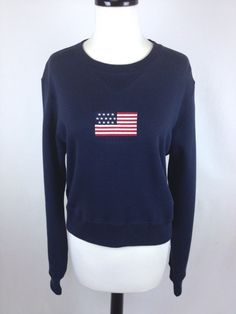 RALPH LAUREN Sweater AMERICAN Flag COTTON Navy Blue POLO SPORT Womens LARGE L - Sweaters