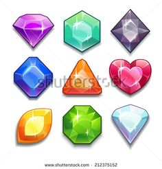 Cartoon vector gems and diamonds icons set in different colors with different shapes, isolated  on the white background. - stock vector