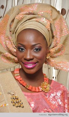 Nigerian Traditional Engagement Ceremony: Peach Aso-Oke Colour Matching Ideas |