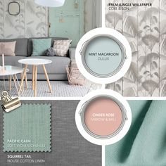 Monday Moodboard - Chalky pastels give a seasonal twist to a grey Scandi theme. Pair mint and blush with botanical touches for a laid-back look. Mint Living Rooms, Blush Living Room, Pastel Living Room, Blush Bedroom, Living Room Sofa, Home Living Room, Scandi Living Room, Copper And Grey Living Room, Grey Wallpaper Living Room
