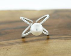 925 Sterling Silver Freshwater Pearl and CZ X Criss Cross Ring