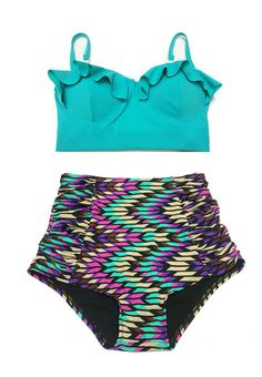 Mint Teal Midkini Top and Ruched Highwaist Waisted by venderstore