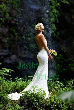 Sexy rückenfrei Hochzeit Spitzenkleid mit von JessicaBridals, $306.00