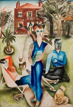 """The Garden"" by Edward Burra, 1927 (pencil, watercolour and bodycolour) Lynn Chadwick, Victor Pasmore, George Grosz, Expressionist Artists, David Hockney, Abstract Painters, Garden S, Les Oeuvres, Illustrators"