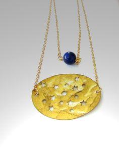 Collana Lapislazzulo & Placca oro , 14k gold placcato, Multifilo, di Frammentidivetro su Etsy