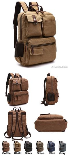 Which color do you like? Retro School Canvas Laptop Backpack Brown Large Capacity Multi-pocketed Outdoor Travel Backpack #retro #travel #large #canvas #school #college #backpack #Bag