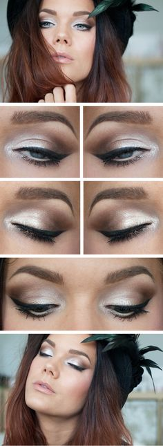 brown and white eye makeup