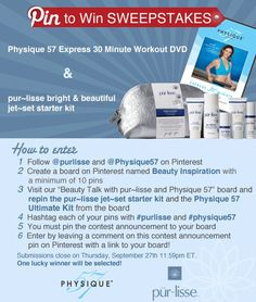 Repin this announcement for a chance to win! Must follow @purlisse beauty and @Physique57 to enter the #giveaway! Follow directions on pin to enter. Winner will be announced on Pinterest 10/3.  #beauty #fitness #pinterest #purlisse #physique57