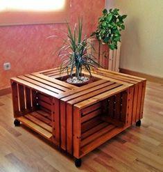 Mesa de centro con palets palets pinterest tarimas for Muebles con material reciclado