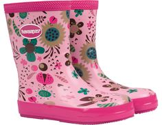 """<p>The Aqua Fun rain boots bring charming, girly style style to her outdoor activities this season with a colorful floral print accentuated with cute hearts. A special brick pattern on the outsole helps keep her safe by minimizing slippage on wet surfaces, while our signature key pattern and a Havaianas logo complete the look.</p><ul>  <li>Pull-on style</li>  <li>100% rubber with cotton lining</li>  <li>Measurements (based on size 13c): 7"""" tall"""