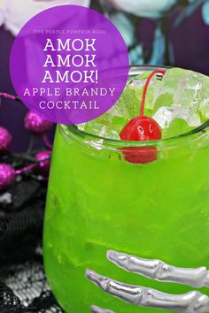For fans of Hocus Pocus, the Amok Amok Amok! Sanderson Sisters Cocktail is a must-drink this Halloween! Made with fruit juices, rum, apple brandy, and blue curaçao - this twisted concoction tastes magical! #HalloweenCocktails #ThePurplePumpkinBlog Cocktails Made With Rum, Brandy Cocktails, Fall Cocktails, Halloween Cocktails, Halloween Party Themes, Bbq Drinks, Beverages, Antipasti Platter, Rainbow Smoothies