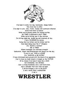 "Wrestling Quote ""I Am A WRESTLER"""