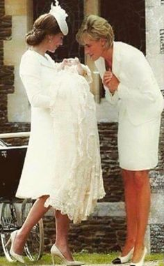 Catherine, Duchess of Cambridge carrying Princess Charlotte of Cambridge while  Princess Diana looks on with love... Photoshopped Image