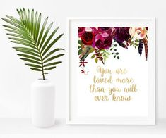 Love Quotes, You Are Loved More, Bible Verse Printable, Christian Print, Bible Print, Scripture Printable, Home Decor, Wall Decor Nursery Bible Verses, Scripture Wall Art, Printable Bible Verses, Printable Art, Quote Prints, Poster Prints, Wall Art Prints, Watercolor Flower Wreath, Inspirational Gifts
