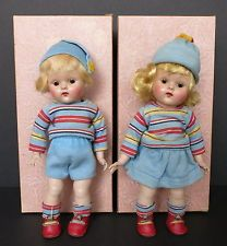 """2 VINTAGE 8"""" VOGUE DOLLS BOY & GIRL W/MATCHING OUTFITS W/ BOXES MARKED #33 & #34"""