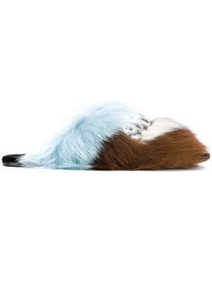 Prada Brown Blue Crystal Fur Slides In Neutrals Fluffy Sandals, Cult Following, Embellished Sandals, Prada Shoes, Leather Sandals, Shoes Sandals, Flats, Fur Slides, Blue Crystals