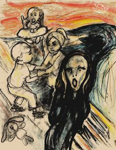 Famous Paintings Get a Dose of Motherhood: 'The Scream(ing) Mom' (inspired by Edvard Munch) Happy Mom Day, Happy Mothers Day, Mom Jokes, Mom Humor, Scream Parody, Scream Art, Popular Paintings, Expressionist Artists, Caricature