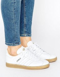 buy online 6b606 1109a adidas Originals White Leather Gazelle Sneakers With Gum Sole - White
