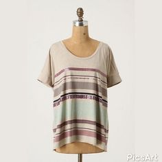 """{Anthropologie} Design Darlings Tee Stripes and sparkles (two of our favorite things) come together on one.september's boxy scoopneck.   Cotton  Hand wash  25""""L  In excellent condition. Anthropologie Tops"""