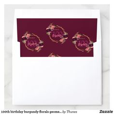 Shop birthday burgundy florals geometric gold envelope liner created by Thunes. Envelope Box, Envelope Liners, Sweet 16 Birthday, 16th Birthday, 60th Birthday Party Invitations, Gold Envelopes, Burgundy Flowers, Wedding Announcements, Folded Cards