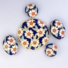 Blooming Hearts - Dark Delft by golemstudio on Etsy