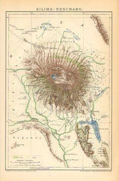 Mt. Kilimajaro 1902 map #tanzania #africa #map