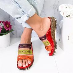 US$ 35.37 - New Summer Women Sandals Stitching Sandals Ladies Open Toe Casual Shoes 2020 Fashion Platform Wedge Slides Beach Shoes - www.joymanmall.com Open Toe Sandals, Wedge Sandals, Orthopedic Sandals, Posture Correction, Nylons, Beach Shoes, Womens Slippers, Casual Shoes, Slip On