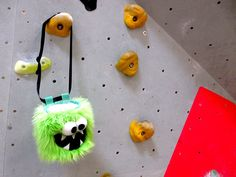 Green Five Toothed Monster Funny Rock Climbing Chalk Bag