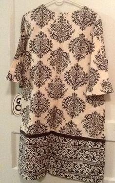 Patrick Robinson Indonesian Brown Print Dress Sz XL NWT