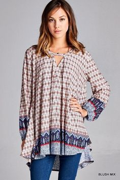 NWT Jodifl Print Boho V-Neck Casual Ethic Hi Lo Boutique Long Sleeve Tunic Top #Jodifl #Tunic #Casual