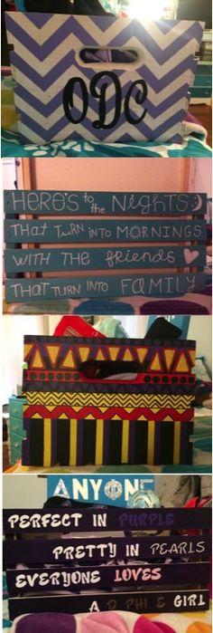 Hand painted wooden crate for sorority initiation   Delta Phi Epsilon Sorority   Big/Little