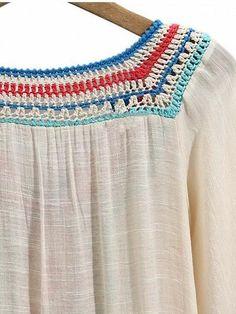 One cotton and linen mix V-neck Crochet trims yoked Tassel tie detail Frill hem Short sleeves Hand wash Crochet Toddler, Crochet Girls, Crochet Yarn, Crochet Trim, Single Crochet Stitch, Basic Crochet Stitches, Crochet Basics, Crochet Spring Dresses, Crochet Dress Outfits