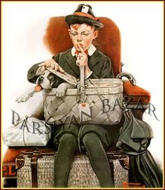 Norman Rockwell: Travelling Companions, Vintage Art Print # 98