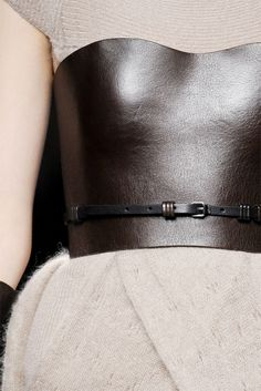 Fendi leather bustier over knit (HOW??)