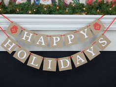 Items similar to Happy Holidays Banner, ornament holiday banner mantel garland, rustic Christmas decorations for living room fireplace, red Christmas banner on Etsy Holiday Banner, Christmas Banners, Christmas Signs, Holiday Wreaths, Rustic Christmas, Christmas Home, Christmas Decorations, Thanksgiving Signs, Easter Garland