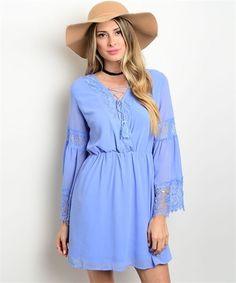 Blue ENTRO Lace Trim Shift Mini Dress Size Medium #Entro #Shift
