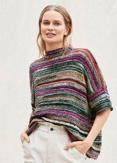Sweater Knitting Patterns, Knitting Designs, Knit Patterns, Hand Knitting, Jersey Multicolor, Knit Shrug, Knitting Magazine, Summer Knitting, Knitwear Fashion