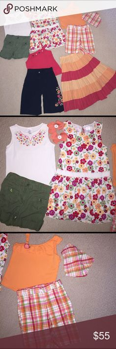 Gymboree 11pc la playa set 6 Gymboree 11 piece set from the La playa line in size 6. Set includes sleeveless ivory top with floral embroidery, army green cuffed shorts with red stitching, floral print drop waist sleeveless dress, orange asymmetric sleeve ruffle tank top, plaid Bermuda shorts, long tiered thin skirt with elastic waist (some wash wear), red tank top with button accents (some loss of elasticity in the waistband), black Bermuda shorts with floral embroidery on one leg, plaid…
