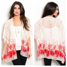 Ivory Flower Kimono Gorgeous Ivory Kimono with a Bright Flower Printed Design. Sheer and lightweight with short flutter sleeves and an open front. 100% Polyester  Sizes Avilable: S,M,L  *Please do not purchase this listing, I will create you a new listing with your size* Thank you! Xo Boutique Tops