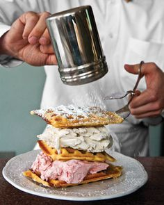 handmade ice cream layered between warm buttermilk waffles  screw waffle cones!