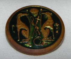 Vintage Enamel Button with Greyhounds