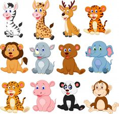 """Buy the royalty-free Stock vector """"Illustration of Wild animals cartoon collection set"""" online ✓ All rights included ✓ High resolution vector file for p. Cartoon Cartoon, Cute Cartoon Animals, Funny Animals, Cute Animals, Animal Heads, Animal Faces, Animals For Kids, Baby Animals, Animal Illustrations"""